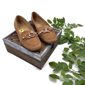 NATURALIZER Tan Leather Suede Comfort Loafers